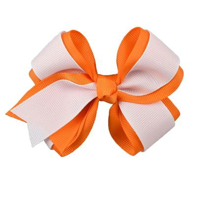 Orange & White Fluff Bow
