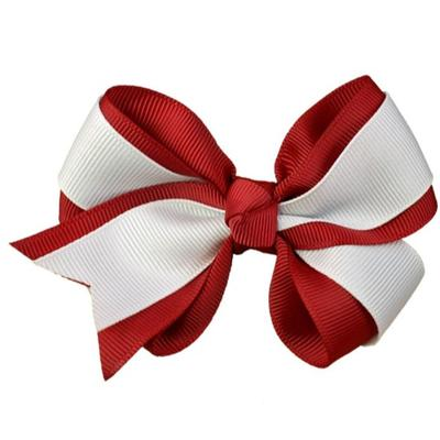 Crimson & White Fluff Bow