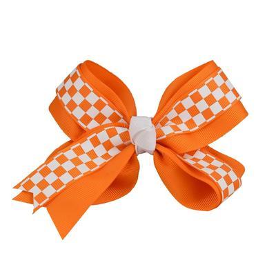 Orange & White Checkerboard Fluff Bow