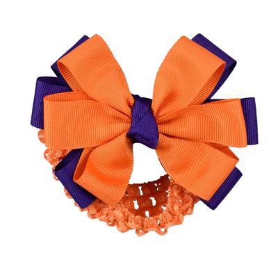 Orange & Purple Fluff Crochet Headband