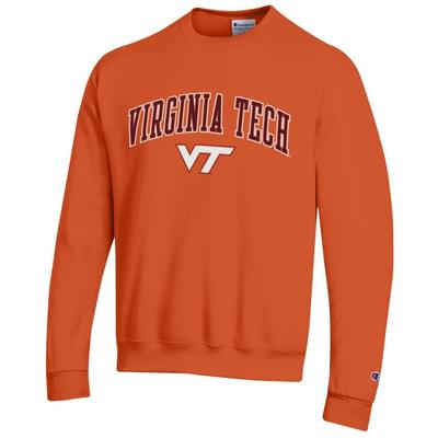 Virginia Tech Champion Fleece Screen Print Arch with Logo Crew ORANGE