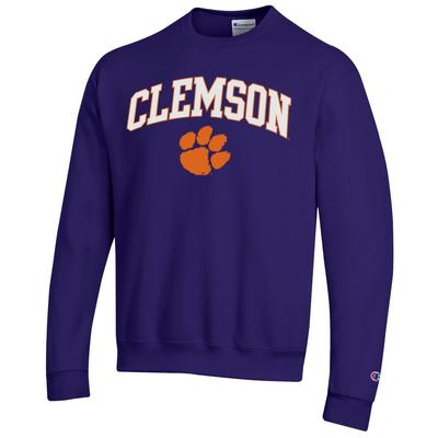 Clemson Champion Fleece Screen Print Arch with Logo Crew