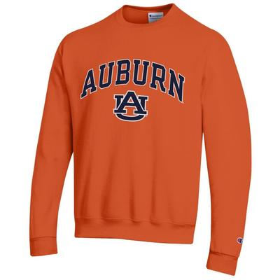 Auburn Champion Fleece Screen Print Arch with Logo Crew