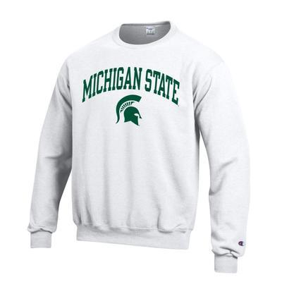 Michigan State Champion Fleece Screen Print Arch with Logo Crew