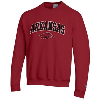 Arkansas Champion Fleece Screen Print Arch with Logo Crew