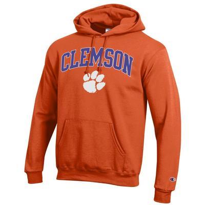 Clemson Champion Fleece Screen Print Arch with Logo Hoodie
