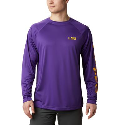 LSU Columbia Men's Terminal Tackle Long Sleeve Shirt - Tall Sizing