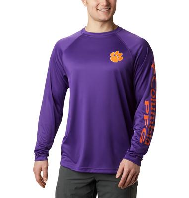 Clemson Columbia Men's Terminal Tackle Long Sleeve Shirt - Tall Sizing