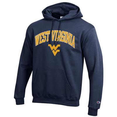 West Virginia Champion Fleece Screen Print Arch with Logo Hoodie