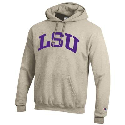 LSU Champion Fleece Screen Print Arch Hoodie