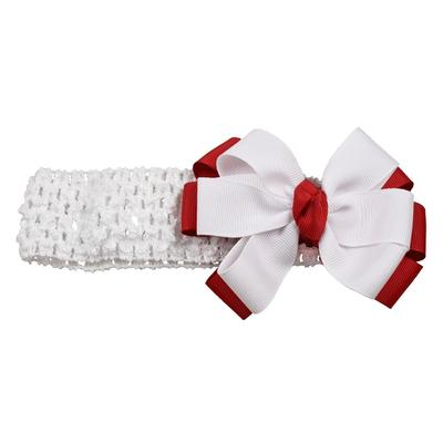 Crimson & White Fluff Crochet Headband