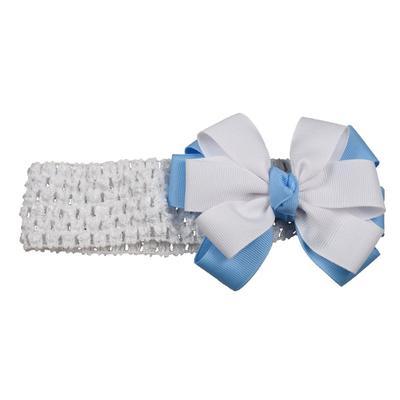 Light Blue & White Fluff Crochet Headband
