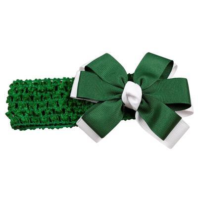 Green & White Fluff Crochet Headband