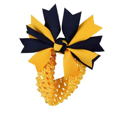 Navy & Gold Pinwheel Crochet Headband