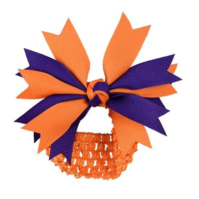Orange & Purple Pinwheel Crochet Headband