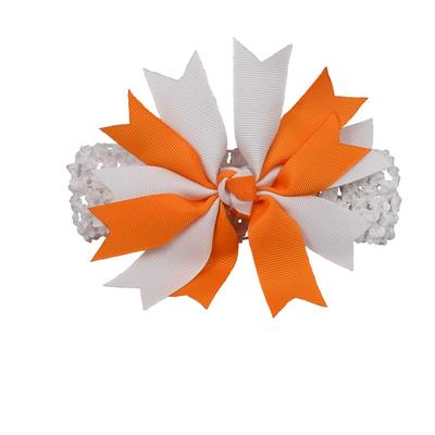 Orange & White Pinwheel Crochet Headband