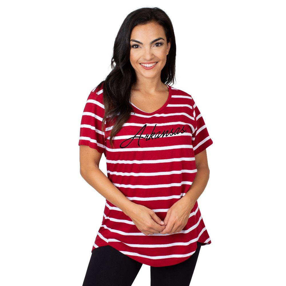 Arkansas University Girls Women's Striped Tee