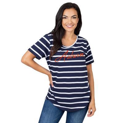Auburn University Girls Women's Striped Tee