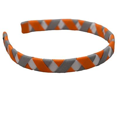 Orange, White & Grey Criss Cross Headband
