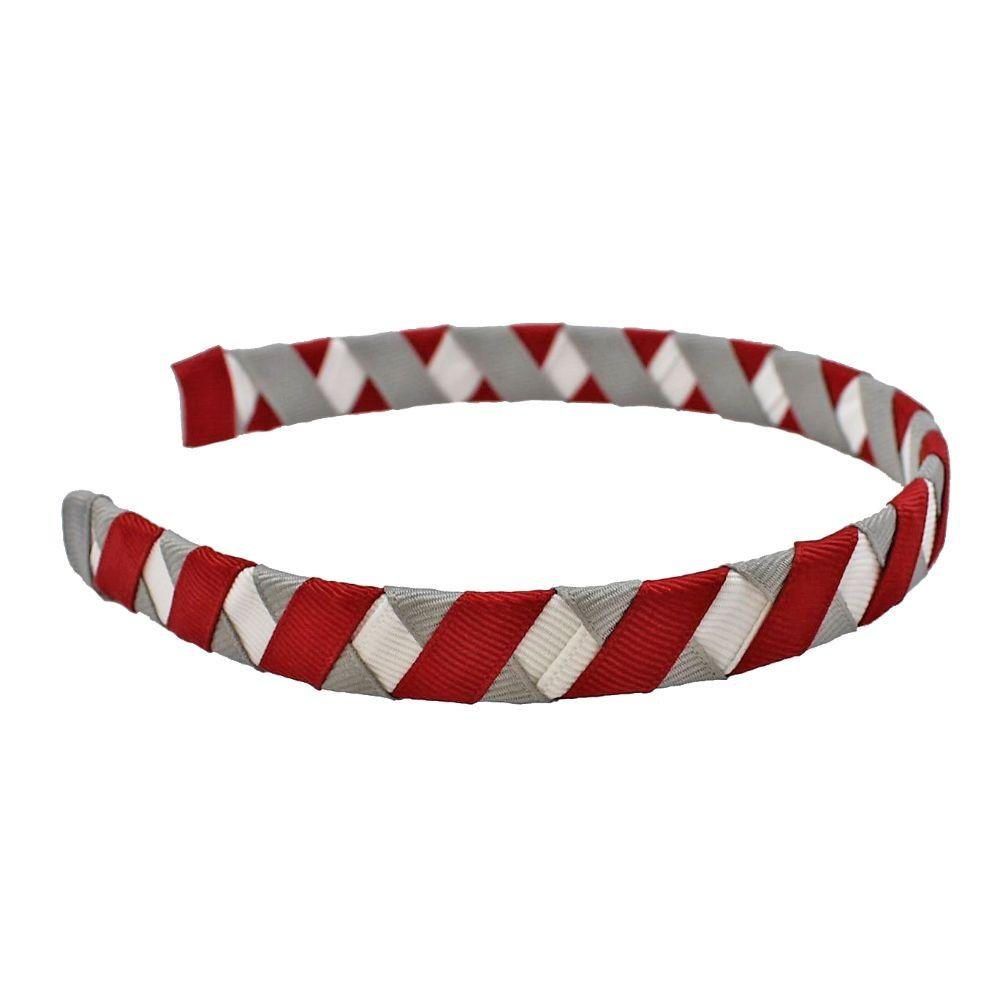Crimson, White & Grey Criss Cross Headband