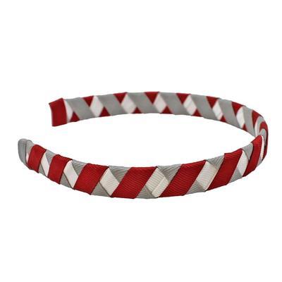 Crimson, White & Grey Criss Cross Headband