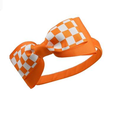 Orange & White Checkerboard Bow Headband