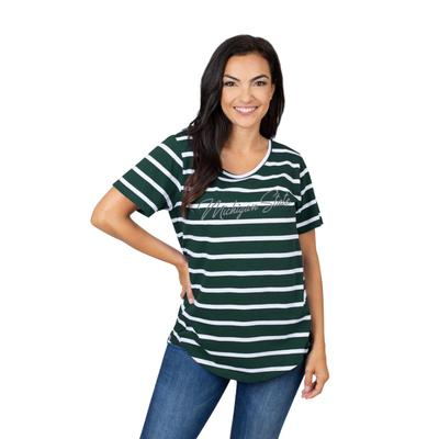 Michigan State University Girls Women's Striped Tee