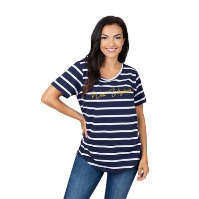 West Virginia University Girls Women's Striped Tee