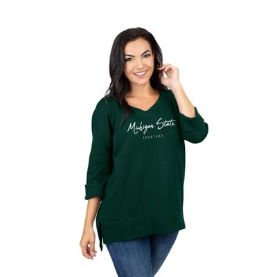 Michigan State University Girls Women's Waffle Boat Neck Top