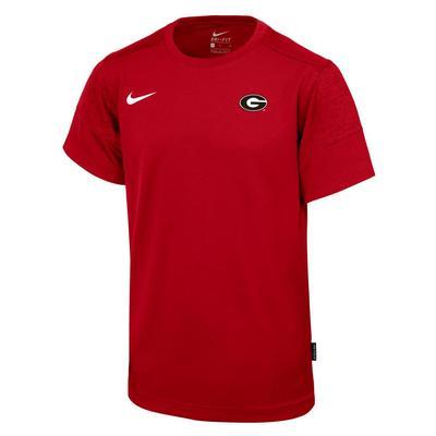 Georgia Nike Boy's Sideline Short Sleeve Coaches Tee