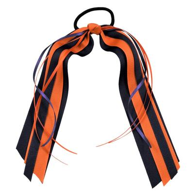 Navy & Orange Streamer Ponytail Holder