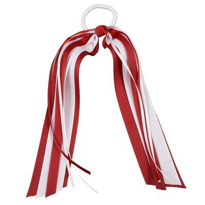Red & White Streamer Ponytail Holder