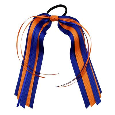Blue & Orange Streamer Ponytail Holder