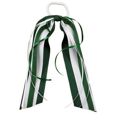 Green & White Streamer Ponytail Holder
