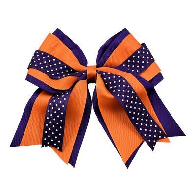 Orange & Purple Layered Dot Ponytail Holder