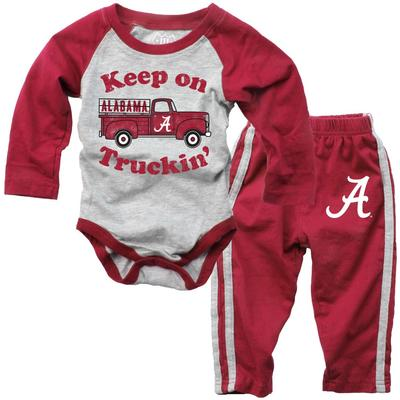 Alabama Infant Keep on Truckin' Long Sleeve Onesie Pant Set
