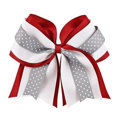 Crimson, White & Grey Layered Dot Ponytail Holder