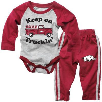 Arkansas Infant Keep on Truckin' Long Sleeve Onesie Pant Set
