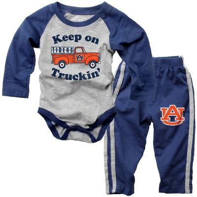 Auburn Infant Keep on Truckin' Long Sleeve Onesie Pant Set