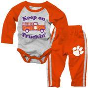 Clemson Infant Keep On Truckin ' Long Sleeve Onesie  Pant Set