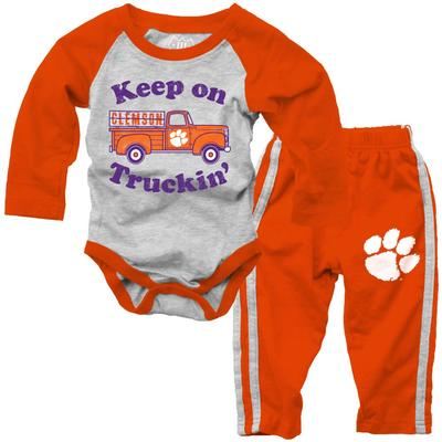 Clemson Infant Keep on Truckin' Long Sleeve Onesie Pant Set