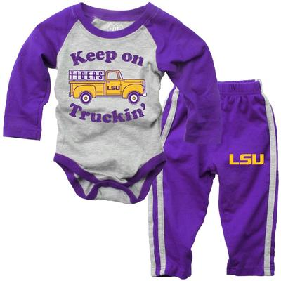 LSU Infant Keep on Truckin' Long Sleeve Onesie Pant Set