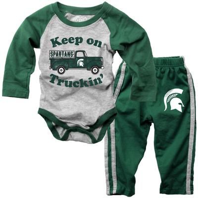 Michigan State Infant Keep on Truckin' Long Sleeve Onesie Pant Set