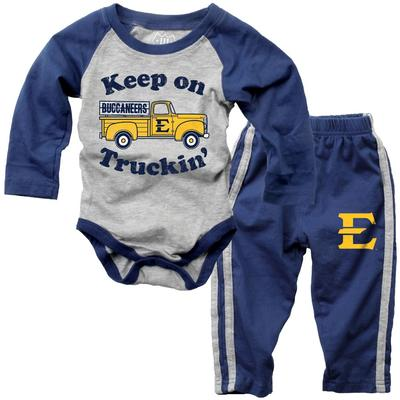 ETSU Infant Keep on Truckin' Long Sleeve Onesie Pant Set