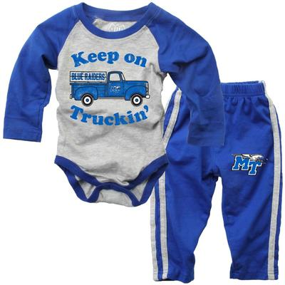 MTSU Infant Keep on Truckin' Long Sleeve Onesie Pant Set