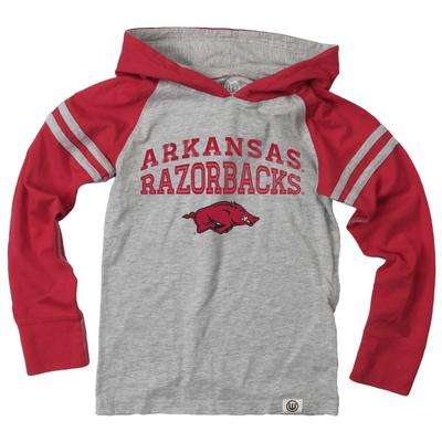 Arkansas Boy's Inline Arched Long Sleeve Hooded Raglan