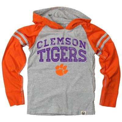 Clemson Boy's Inline Arched Long Sleeve Hooded Raglan