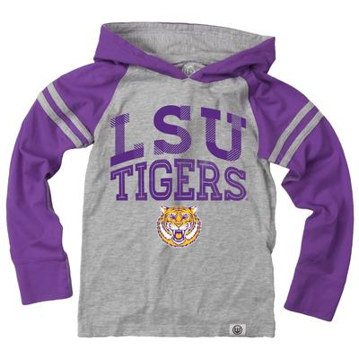 LSU Boy's Inline Arched Long Sleeve Hooded Raglan