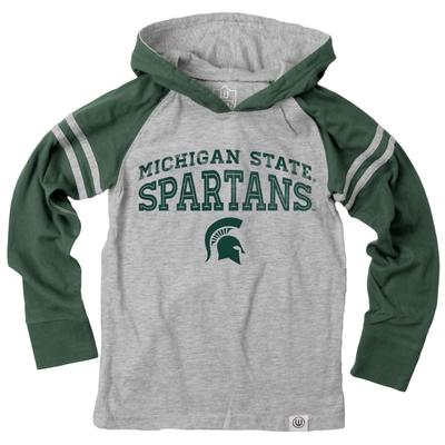 Michigan State Boy's Inline Arched Long Sleeve Hooded Raglan