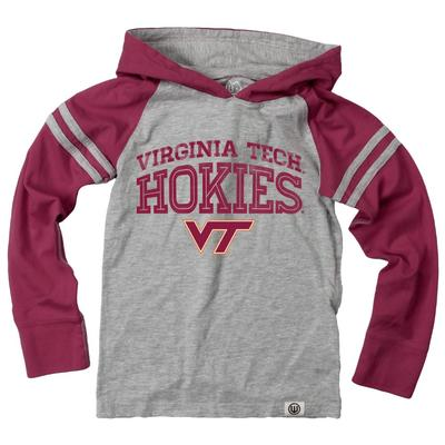 Virginia Tech Boy's Inline Arched Long Sleeve Hooded Raglan